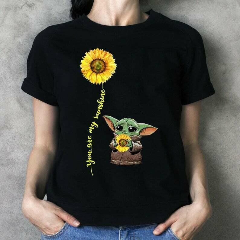 You Are My Sunshine Baby Yoda Sunflower The Mandalorian Star Wars The Rise of Skywalker Galaxy T-Shirt