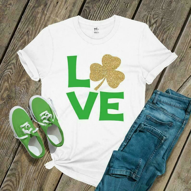 St. Patricks Day shirt | love glitter or foil vinyl shamrock tshirt | st patty's shamrock love | sparkly shamrock shirt for women