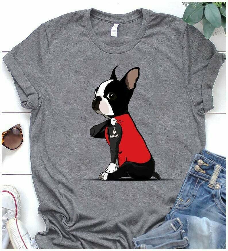 Boston Terrier Tattoos I Love Mom shirt dog tattoos i love mom shirt funny boston terrier mom shirt