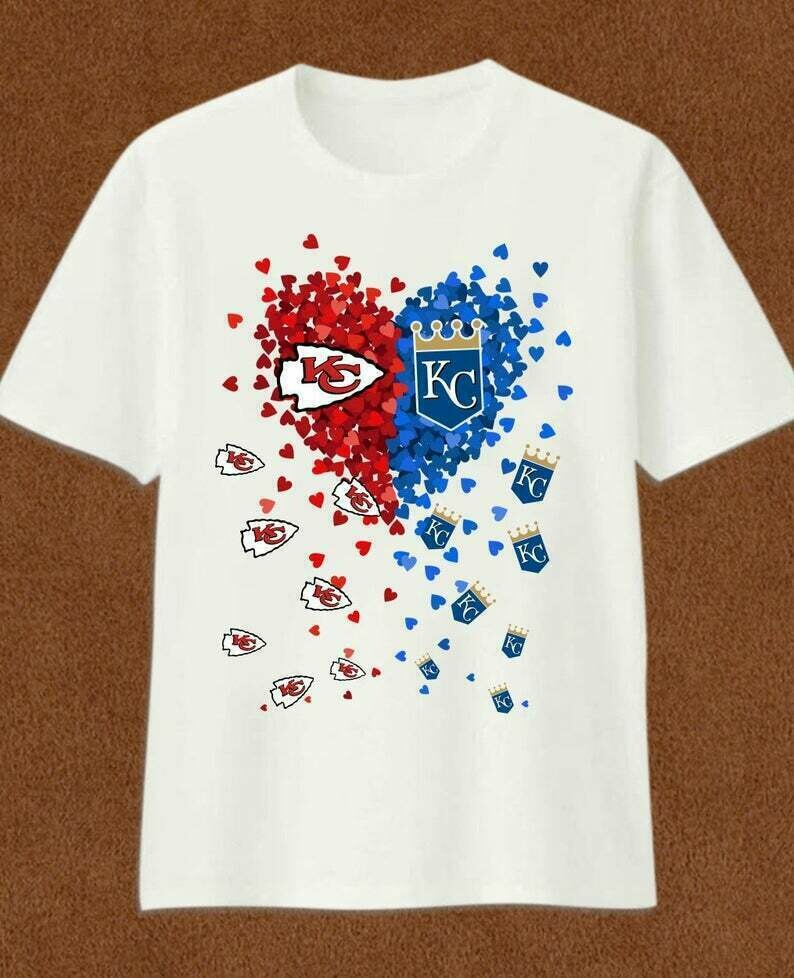KC k.C. Love Kansas City Chiefs and Royals Tiny heart Super Bowl Champions 2020 gift T-Shirt