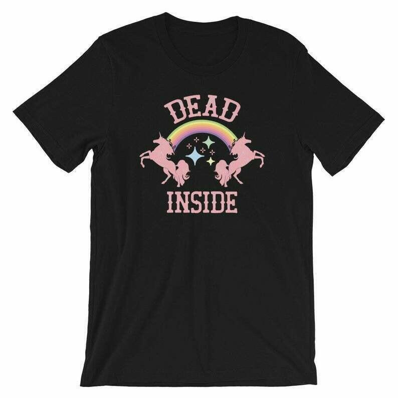 Dead Inside Magical Shirt | Rainbow And Unicorns | Goth Kawaii Ironic Humor | Unicorn Gift Design | Short-Sleeve Unisex T-Shirt | Funny Goth