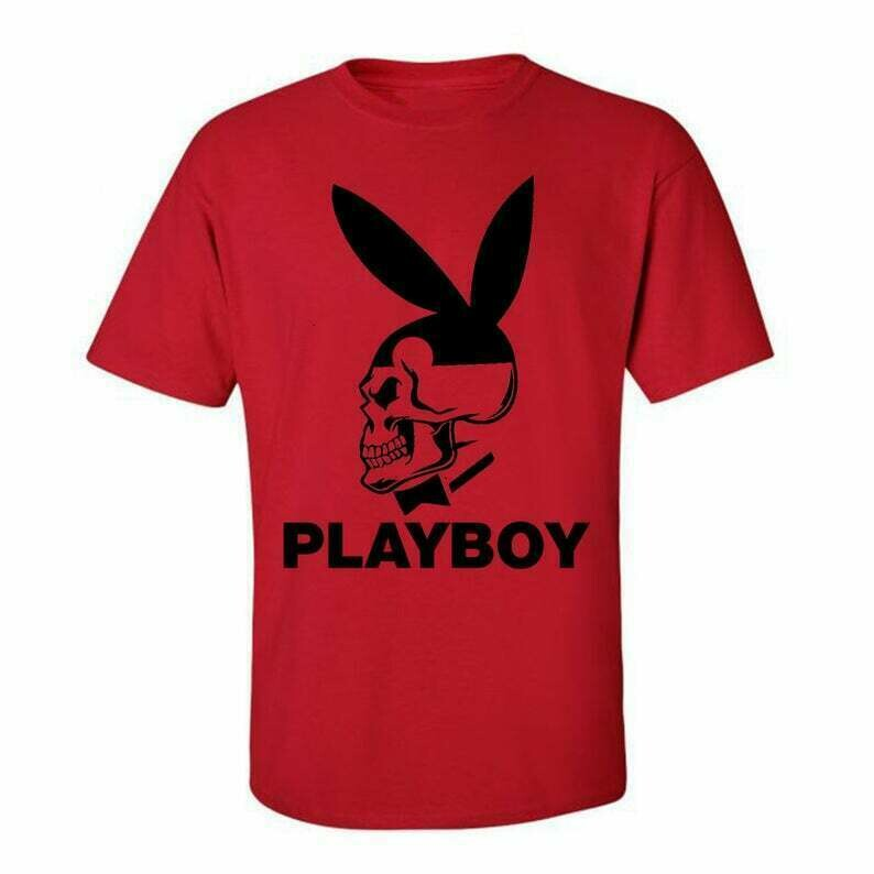 Playboy Bunny Skull Classic, Tees Graphic Funny Generic Novelty Unisex T-Shirt, Fashion High End dtg Printing Playboy Magazine