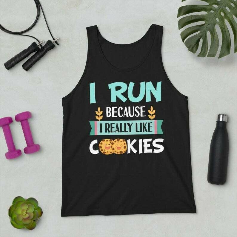 Funny Running Shirt - I Run Because I Really Like Cookies Men's Tank Top