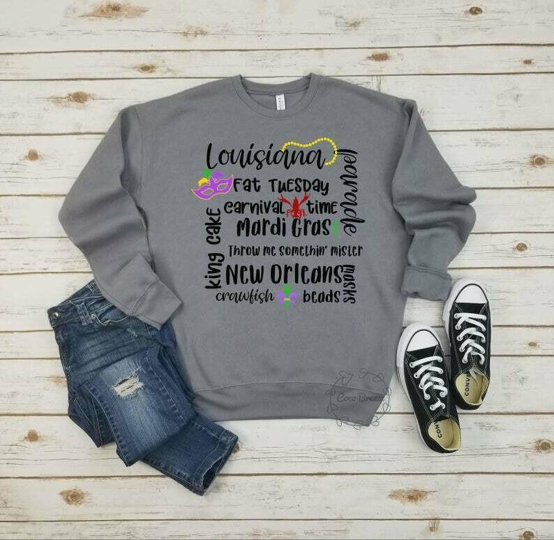 Mardi Gras quote - unisex fleece sweatshirt. Fat Tuesday, New Orleans, Mardi Gras, NOLA shirt, Louisana shirt, Shrove Tuesday,Crawfish shirt