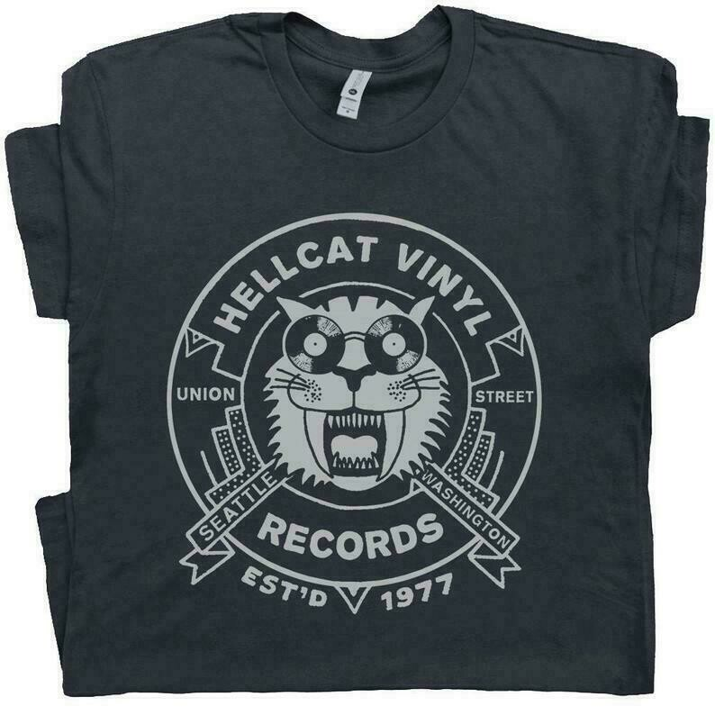 Vinyl Record T Shirt Cool T Shirts Seattle Record Store Vintage Music Graphic Shirts DJ Tee Record Player Turntable tShirt For Men Women