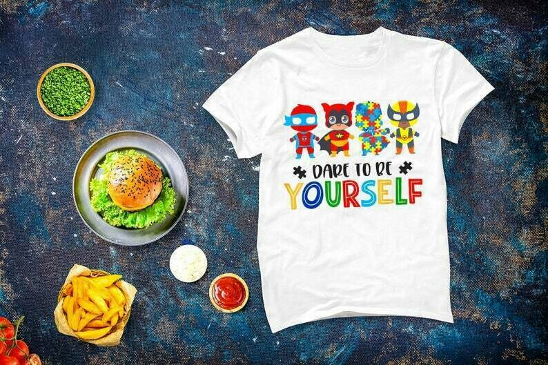 Dare To Be Yourself Superheroes Autism Cute Gift, World Autism Awareness Day, Autism Support Shirt Gift, Autism Superhero Tee