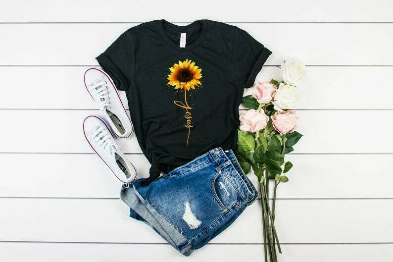 Sunflower Christian Shirts, Jesus Shirt, Jesus T-shirt, Christian T-shirts, Christian Gifts, Faith T-shirt, Sunflower Shirt, Women's Shirts