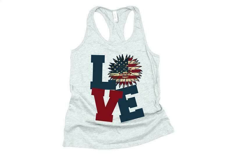 Love 4th Of July, Love Sunflower, 4th Of July Tank Women, 4th Of July Shirt Women, Flag Shirts Women, Patriotic Shirts For Women