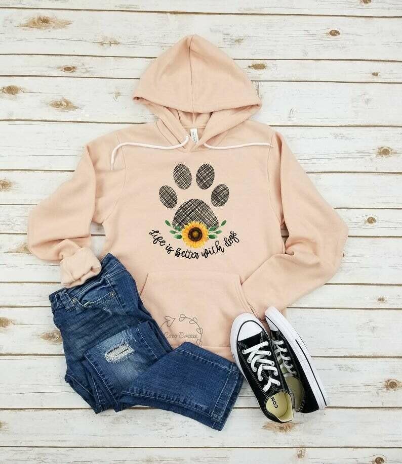 Life is better with dogs - unisex fleece hoodie. dog mom shirt, dog mom, dog lover shirt, dog person shirt, dog shirts for women, dog shirt