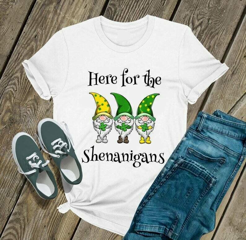 Patricks Day Here For The Shenanigans Gnome - Irish Happy St. Patrick's day shirt T-shirt Shamrock sweat shirt hoodie - H Tsh2d 210220 10