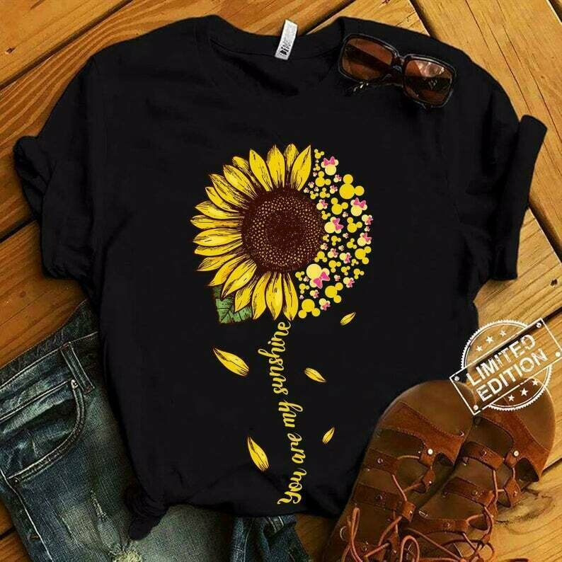 Minnie Sunflower You are my sunshine disney minnie mickey head Walt Disney Vacation Family Mickey Mouse disneyland tee T shirt