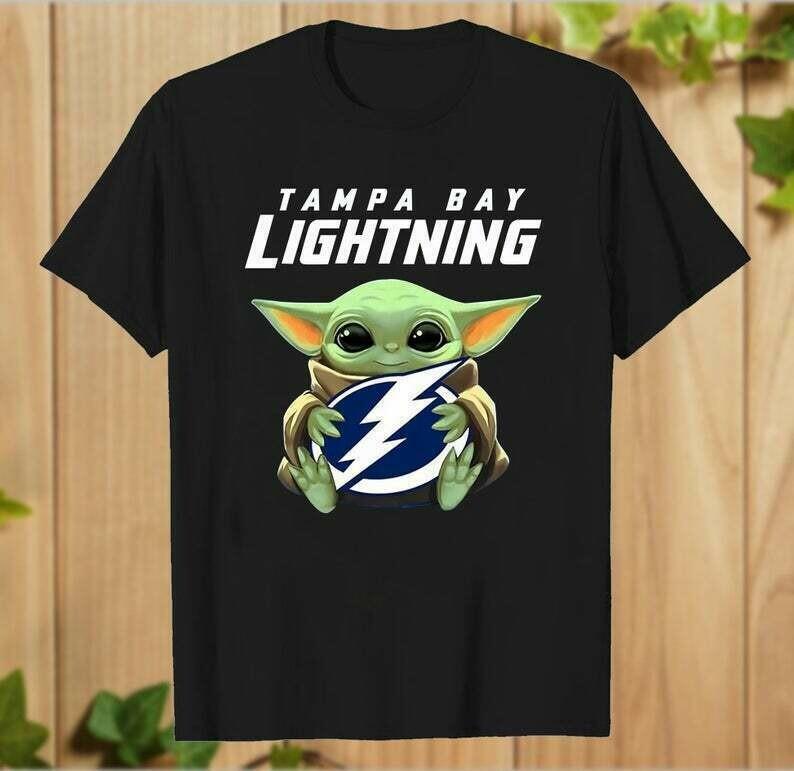 Tampa Bay Lightning Baby Yoda shirt, Star Wars Unisex cotton Shirt, Baby Yoda Football team T-Shirt, T-Shirt With Sayings - hung06032020