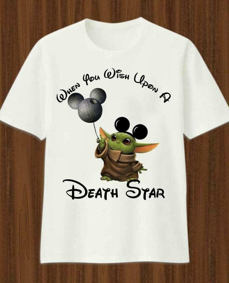 When you wish upon a Darth Vader Yoda Mickey Disney Death Star The Mandalorian Star Wars T-Shirt