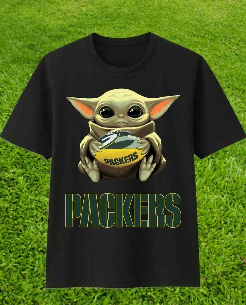 Green Bay Packers Baby Yoda Star Wars The Mandalorian The Child First Memories Floating NFL Football Team Dad Mon Kid Fan T-Shirt