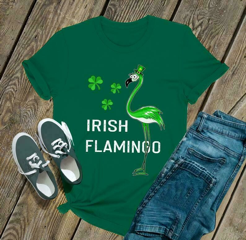 Irish Flamingo shirt top and tee - Irish Happy St. Patrick's day shirt T-shirt Shamrock shirt - H Tsh2d 270220 6