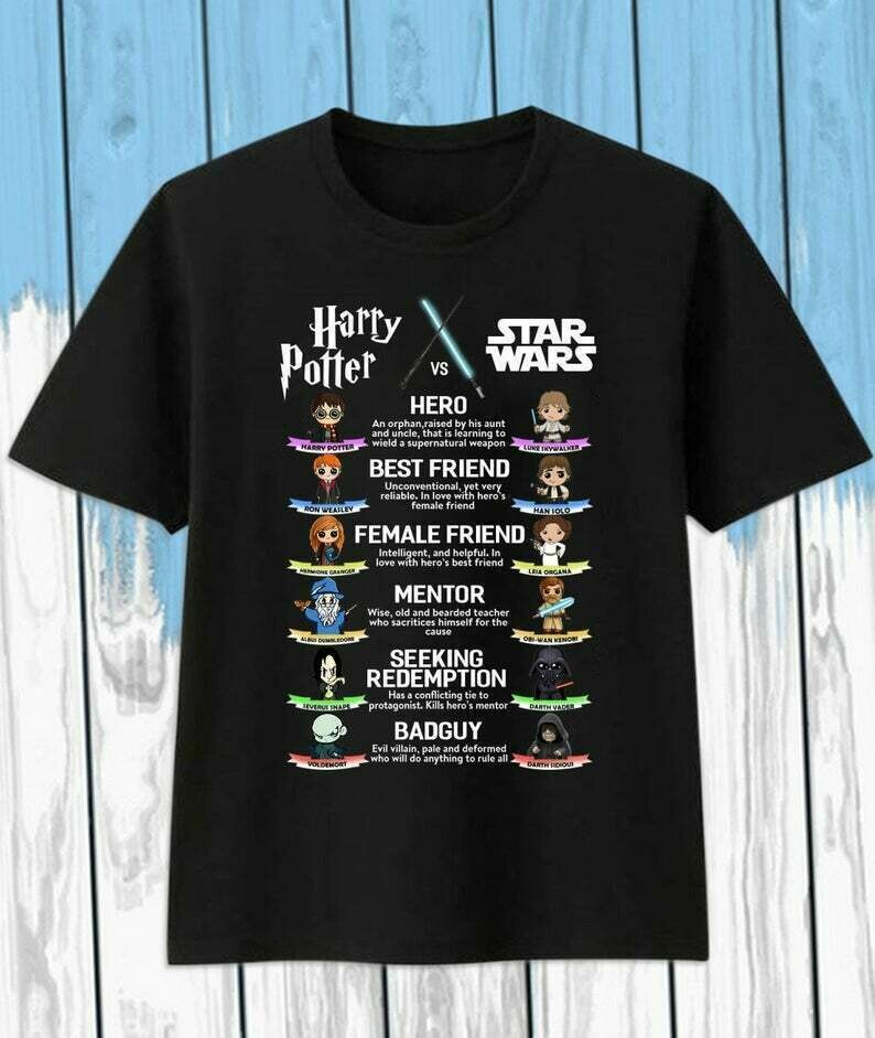 Harry Potter Vs Star Wars Hero Best Friend Female Friend Mentor Seeking Redemption Bad Guy T-Shirt
