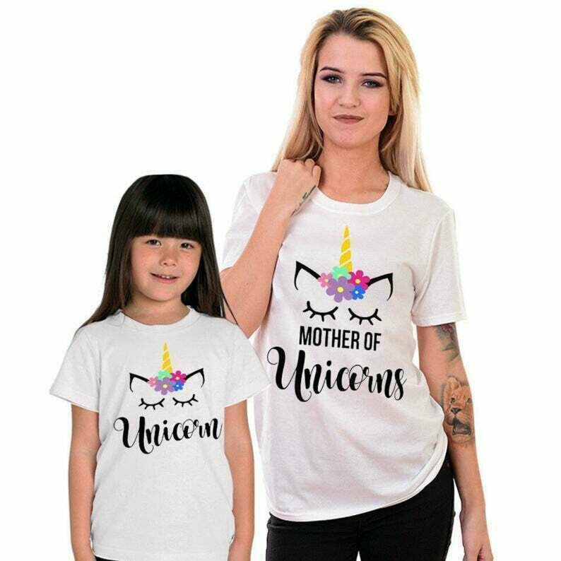 Mother and daughter Unicorn Shirt, mother and son matching Outfits, mommy and me Shirt, Mother Of Unicorn T-shirt, Soft Cotton Tee