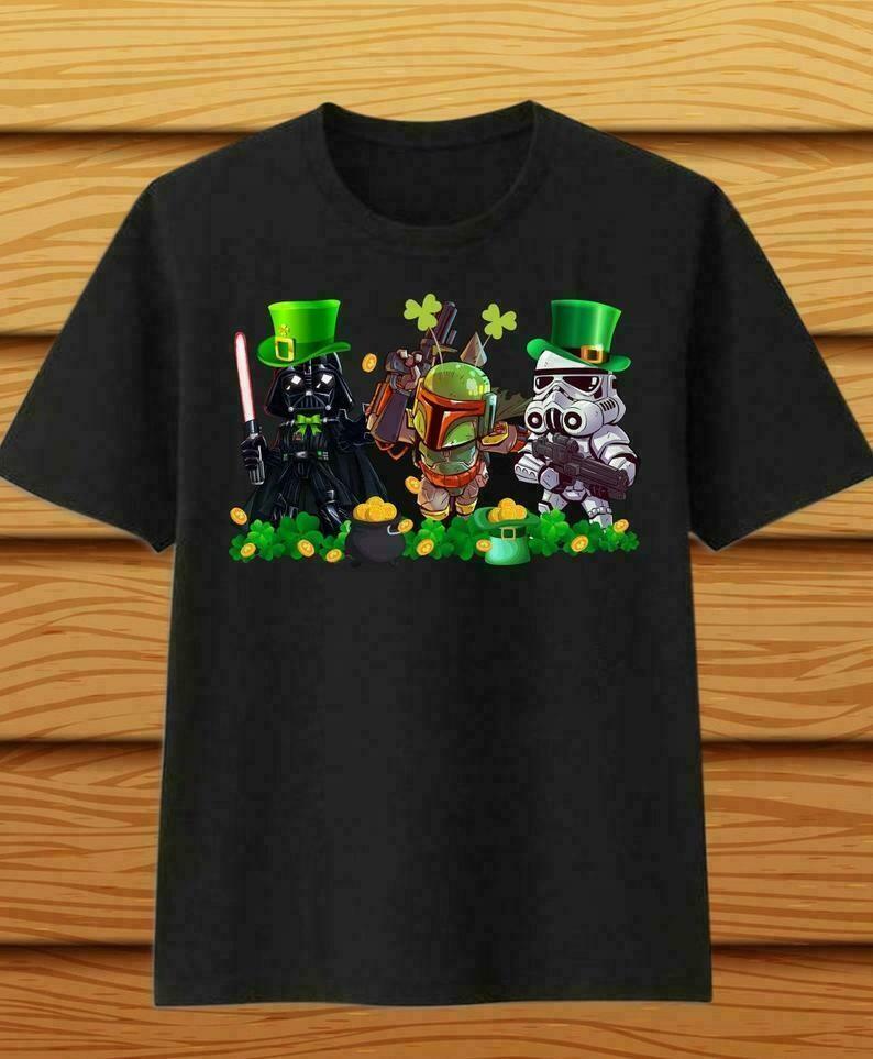 The Mandalorian with death Star Wars Chibi Jedi Squad Movie Film St. Patrick's Day,Kylo Ren Darth Maul Shamrock Four Leaf Clover T-Shirt