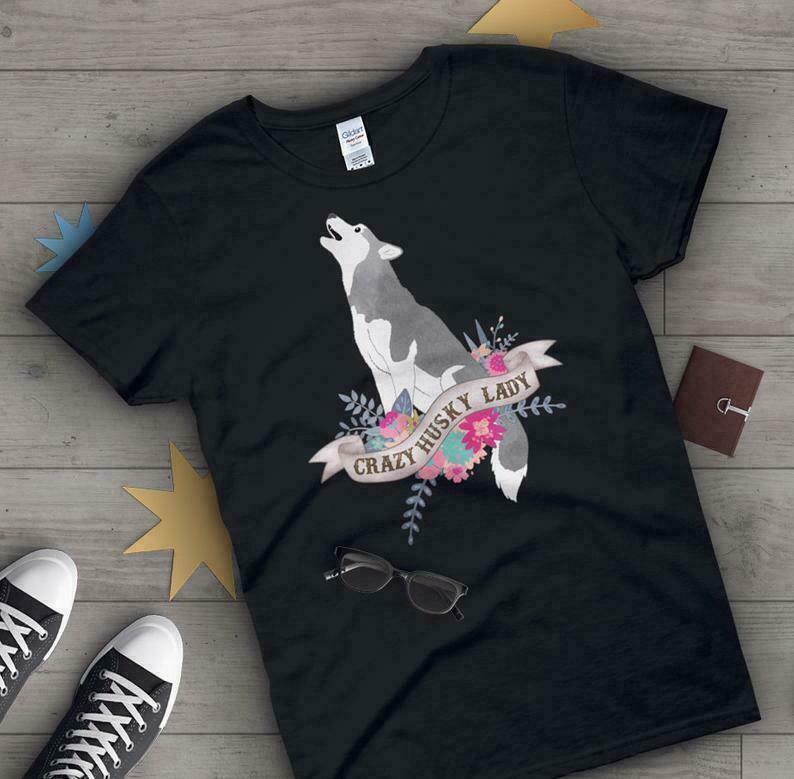 Husky Shirt, Women, Dog Lover Gift, Cute Husky T-shirt, Husky Lover Tshirt, Pet Graphic Tee, Malamute, Wolf Tops, Blue, Navy, Pink, Black