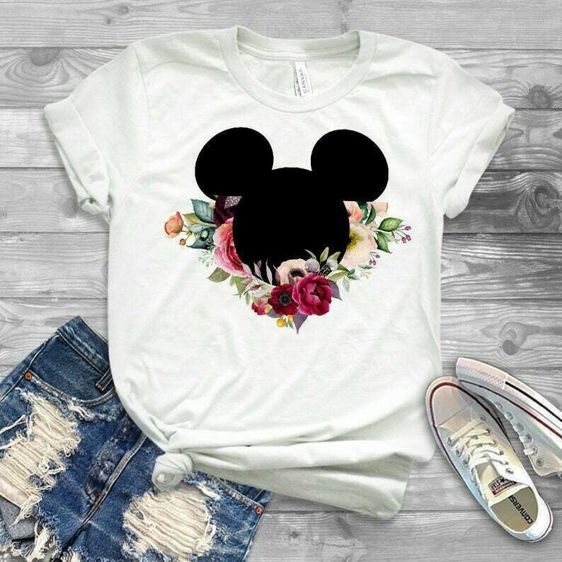 Floral pretty disney shirt, rose disney shirt, bella canvas tank with floral disney design, FAST SHIPPING, the original