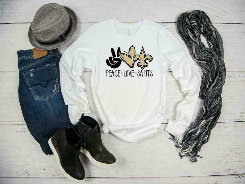 Peace Love Saints Long Sleeve T-shirt, Football Shirt, Louisiana, New Orleans Saints Shirt, Who Dat Shirt, Saints Fan