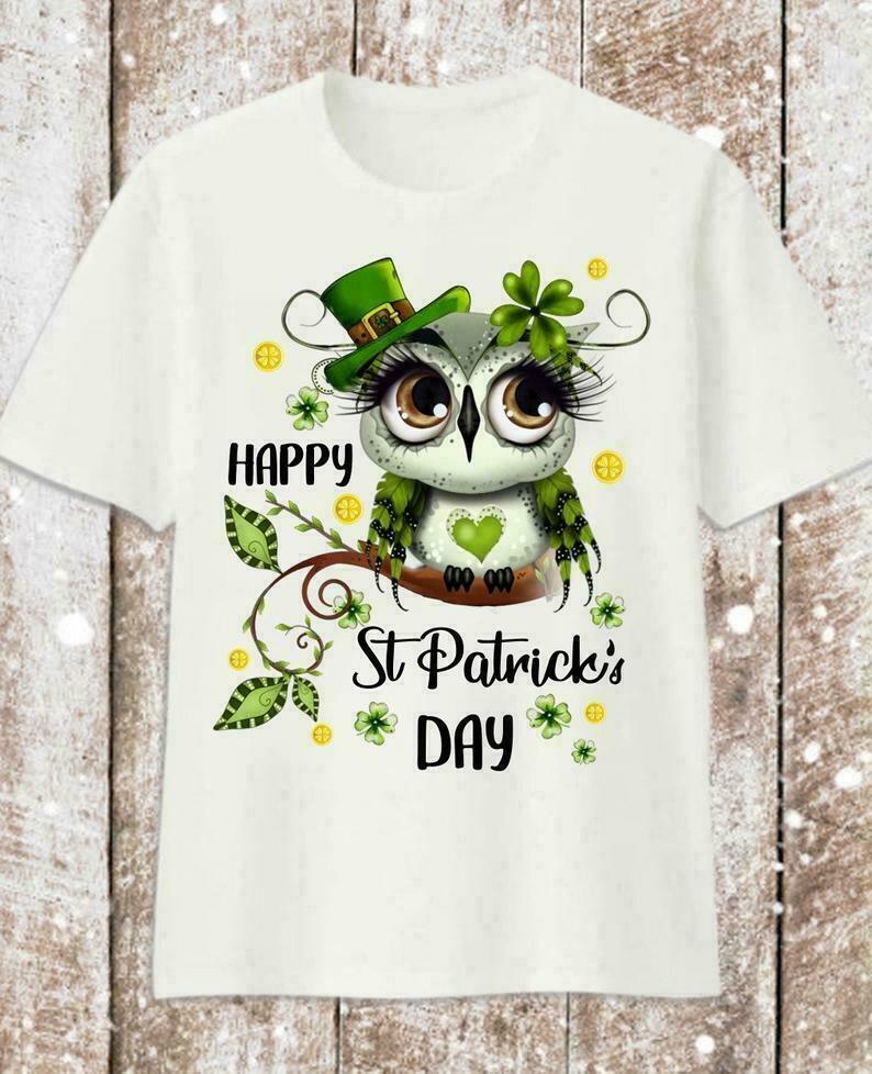Cute Irish Owl Leprechaun Shamrock Green Four Leaf Clover Lovers Happy St Patrick Day T-Shirt
