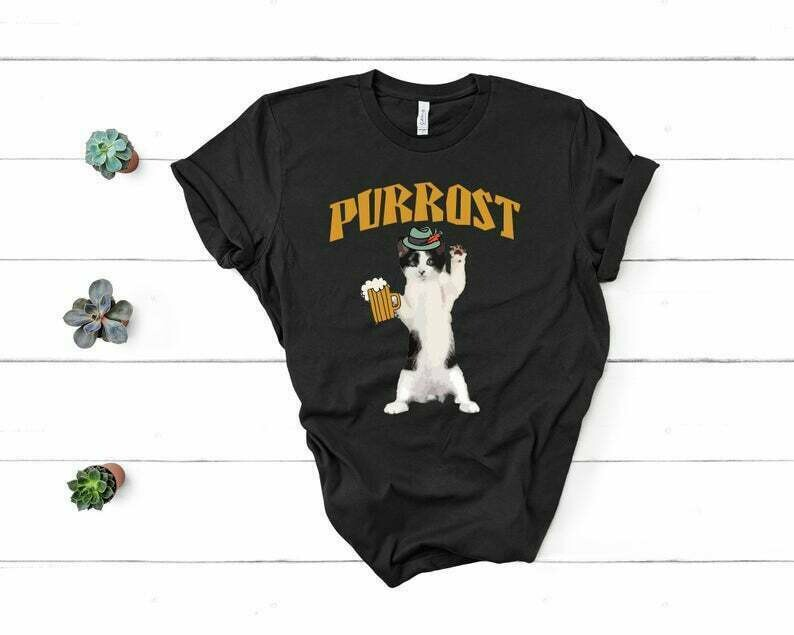 Funny Oktoberfest Cat Shirt Kitty Drinking Beer or Ale Prost Purrost Short sleeve t-shirt