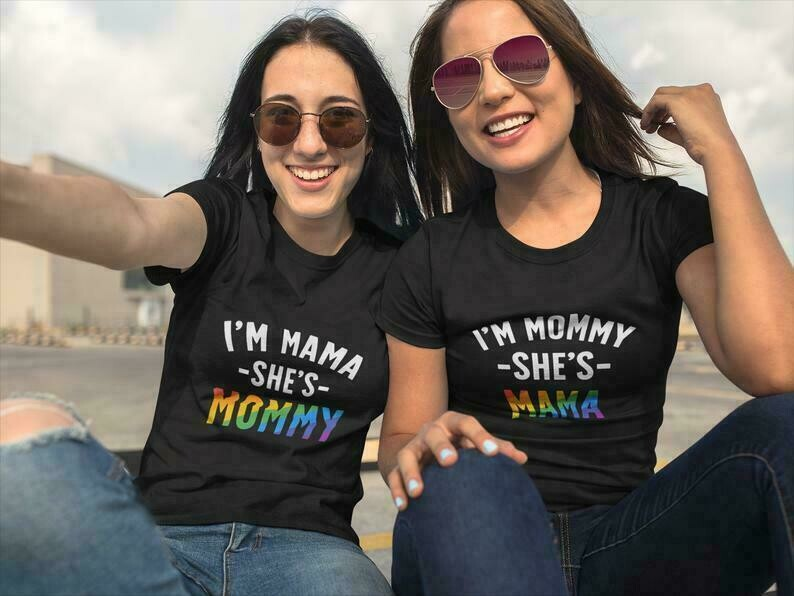 I'm Mama She's Mommy + I'm Mommy Shes Mama Matching Couples Shirt, Lesbian Gay Pride, Matching Shirts for Couples, Lesbian Couple Shirts