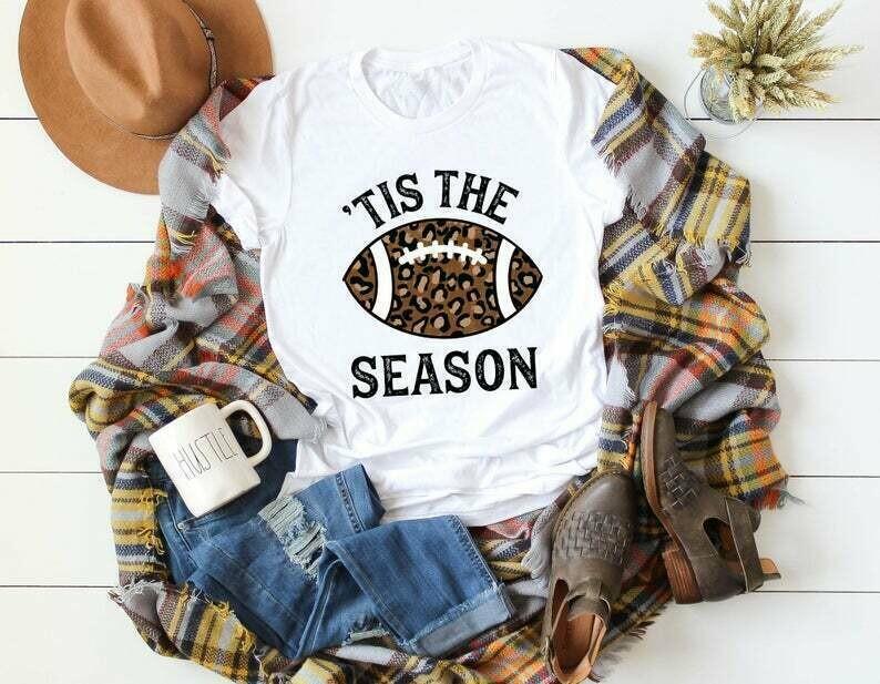 Women's Fall Football Shirt Fall Shirt Leopard Shirt Ladies Fall Shirt Women's Football Shirt Football Top Fall Shirt Fall Women's Clothing