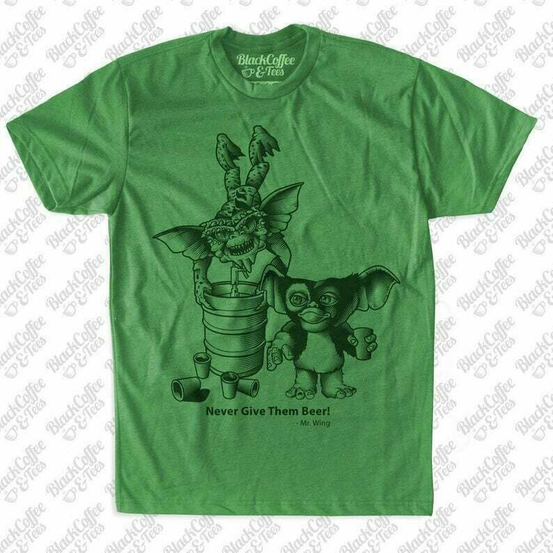 Saint Patricks Day Shirt - Gremlins Shirt - Beer Shirt - Craft Beer Shirt - Mens Gremlins Shirt -Gremlins Printed on a Mens Green Shirt