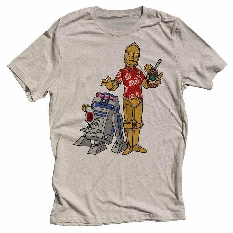 Funny Star Wars Mens T-shirt. Mens R2D2 C3PO Shirt. Cruise Vacation Shirt. Funny Boat Shirt
