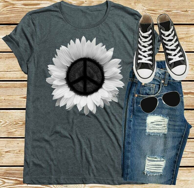 Sunflower Shirt, Peace Sign Shirt, Hippie Clothing T-Shirts, Boho Floral Tees, 60s 70s Retro Unisex Shirts