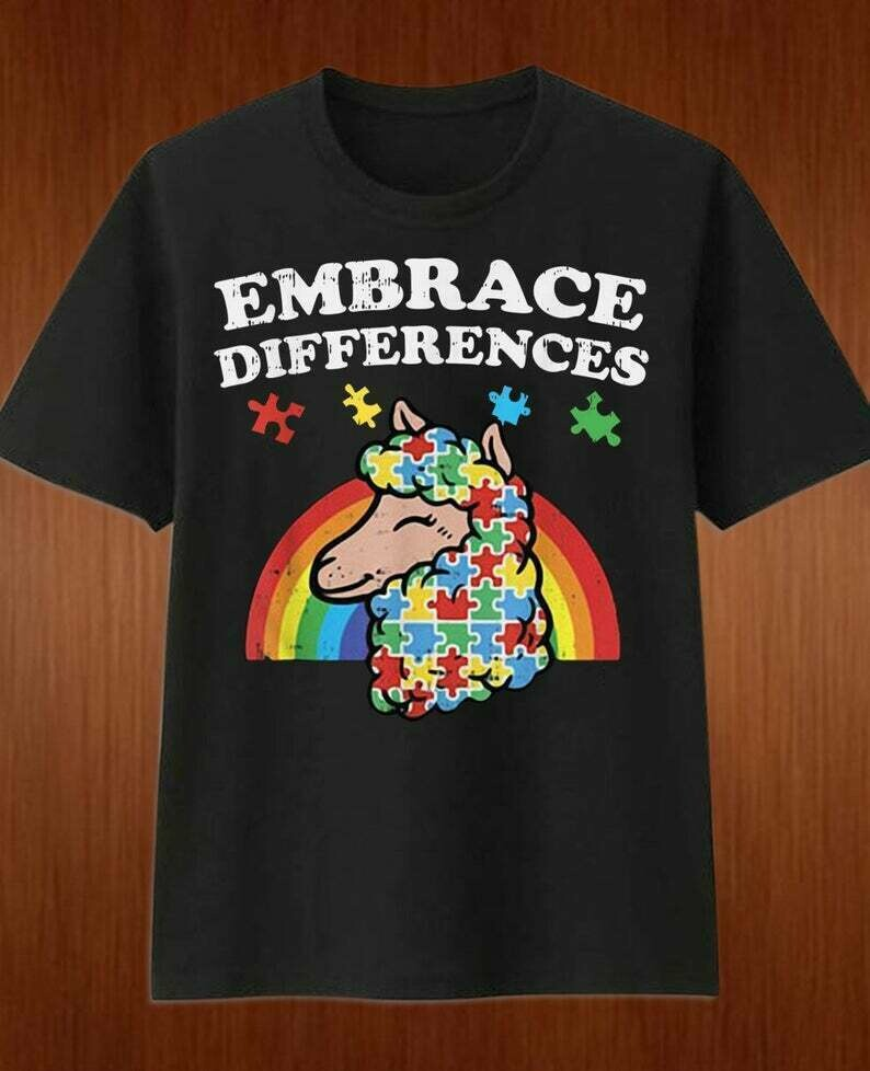 Embrace Differences Autism Awareness llama Autistic Special Ed Vintage T-Shirt for Men Women Dad mama mom