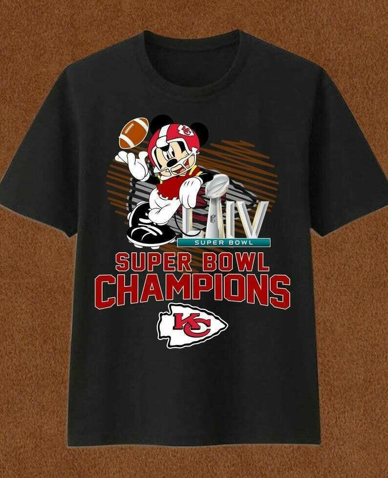 Kansas City Chiefs Mickey Mouse Super Bowl Liv Champions,Walt Disney World Chiefs Inspired NFL Football Team fan gift T-Shirt