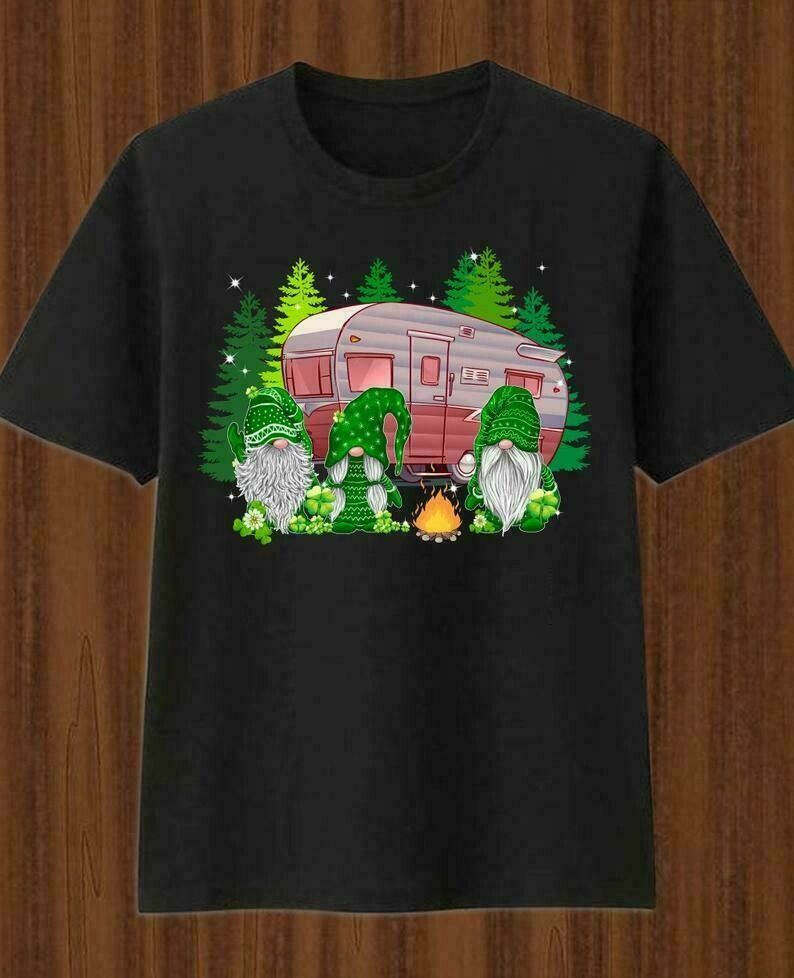 Irish Gnomes Happy st patrick's day,Three Gnomes Holding four Clover Shamrocks,Green Leprechan gnome Happy camper glamping T-Shirt
