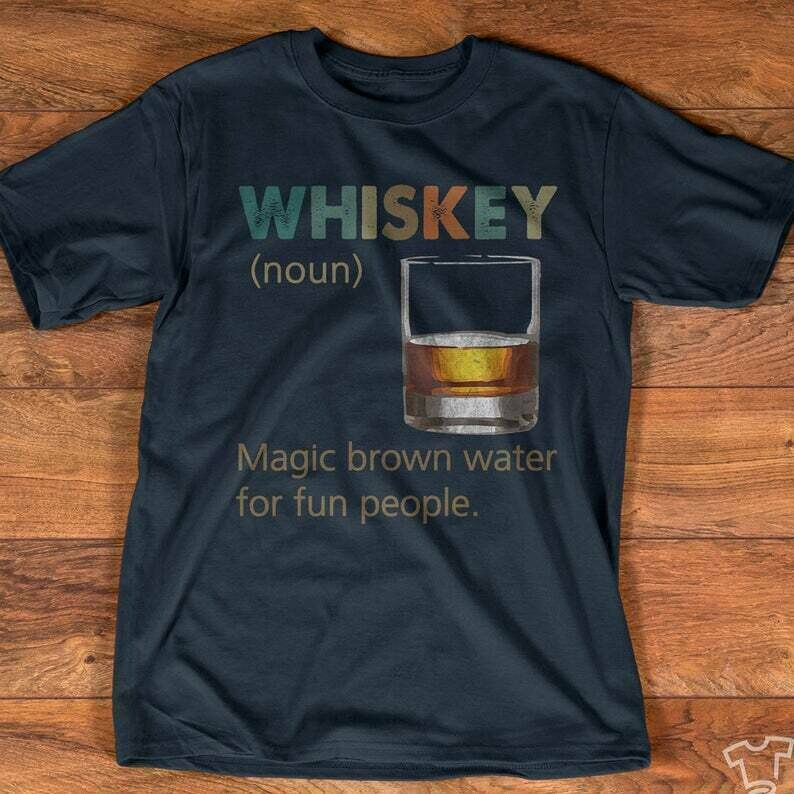 Whiskey Vintage T shirt - Magic Brown Water for Fun People - Drinking Drinkers Gift - Whiskey Day Short-Sleeve Unisex T-Shirt