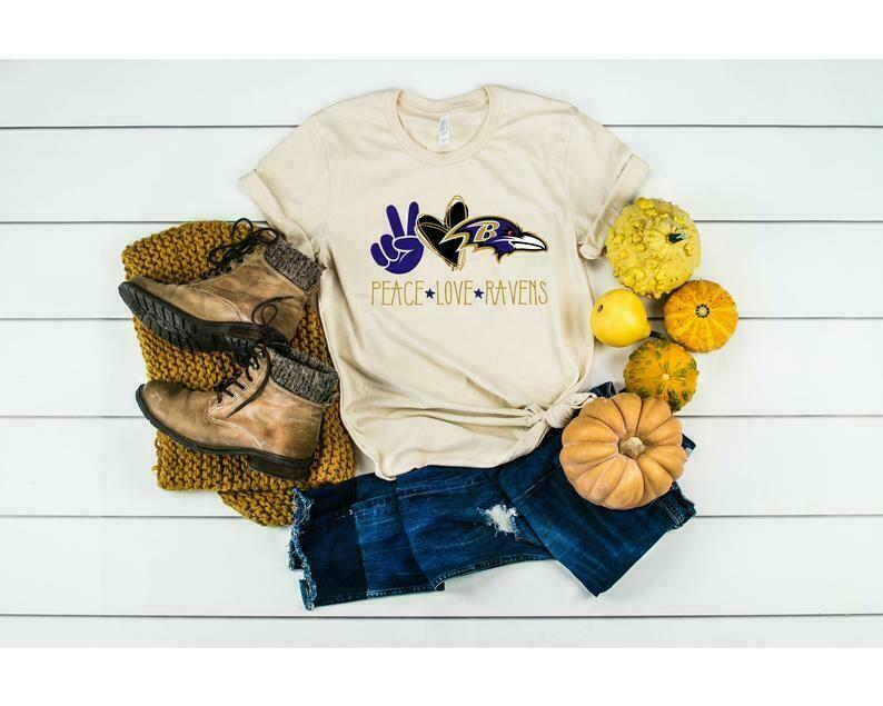 Peace Love Ravens T-shirt, Football Shirt, Baltimore Ravens Shirt, Ravens Fan
