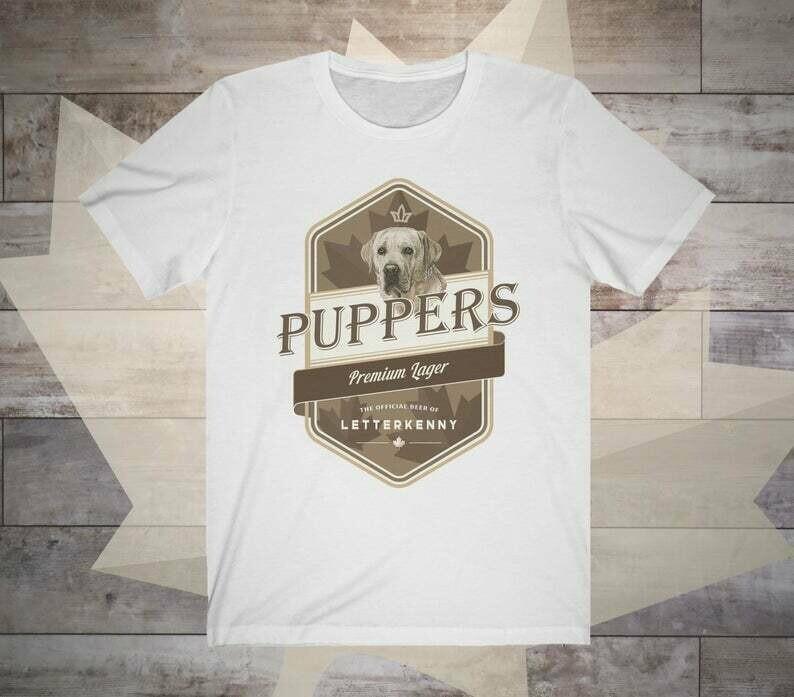 Letterkenny Puppers Premium Lager Beer Unisex Short Sleeve Tee Pitter Patter Shirt Dog Lover Irish TV Show Fans T-Shirt Wayne Katy Daryl Dan