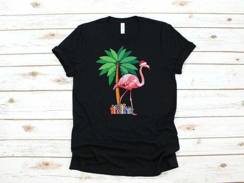 Christmas Flamingo Shirt, Holiday Flamingo Santa, Funny Flamingo Gift, Flamingo Christmas Party, Tropical Christmas Gift