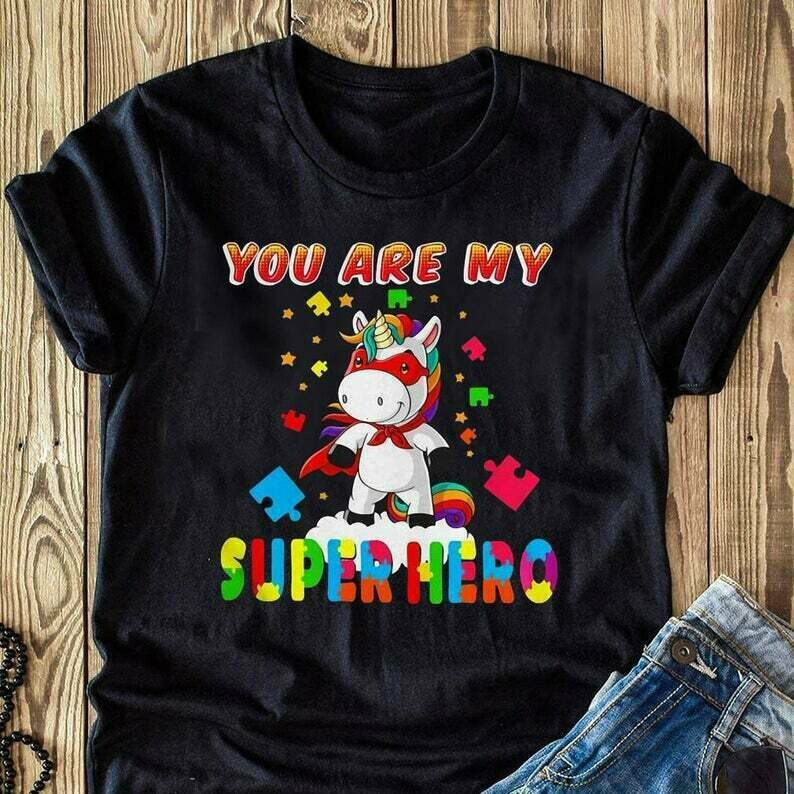 Unicorn autism you are my superhero special T Shirt perfect for Grandpa Daddy PaPa Mama Mom Mother Father