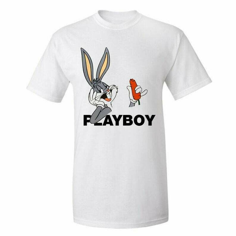 Bugs-bunny Looney Tunes, Playboy , Tees Graphic Funny Generic Novelty Unisex T-Shirt, Fashion High End dtg Printing Tigers