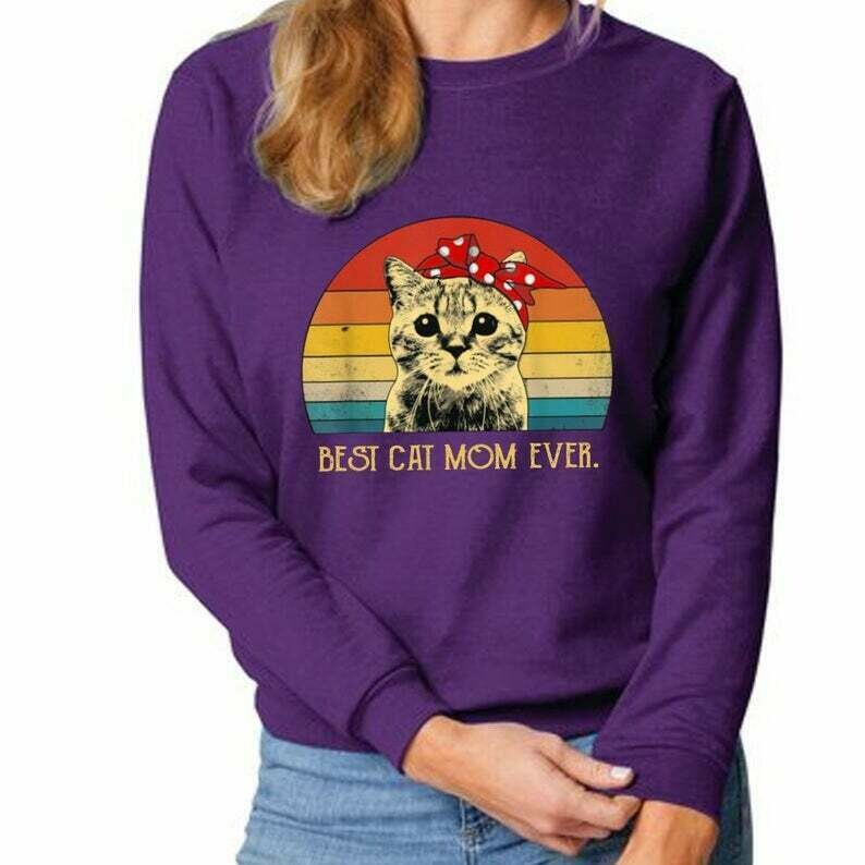Vintage Best Cat Mom Ever Bump Fit Mom Meowy fist T Shirt Gift For granmpa Mama Mommy wife Mother's Day