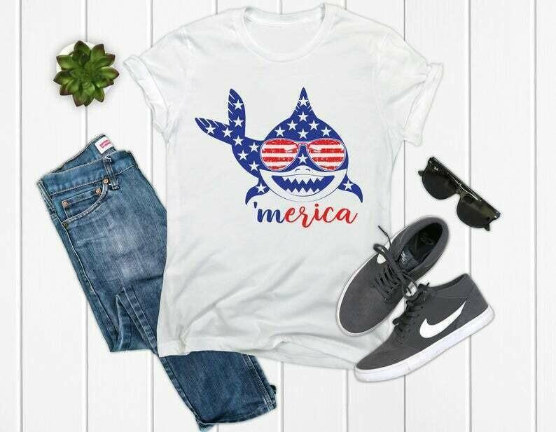 Shark 4th of July Shirt America Shirt 4th of July Shirt Patriotic Shirt 4th of July USA shirt 4th of July Usa Top