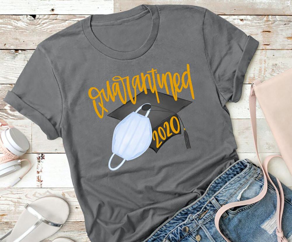 Senior 2020 Gift for Her, Seniors Friends Class of 2020 Quarantined Shirt Graduation Gift
