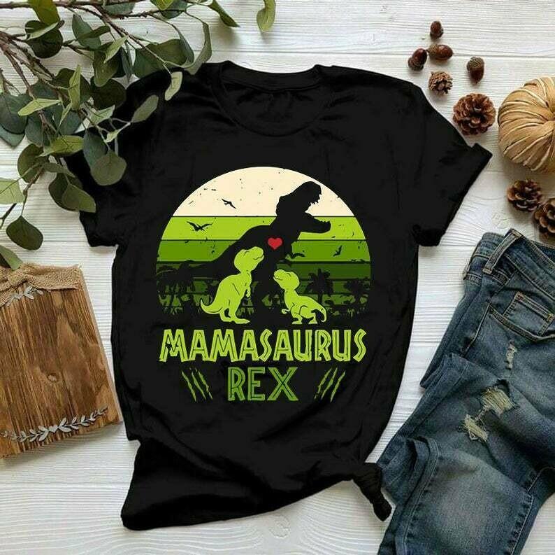Vintage Retro 2 Kids Mamasaurus Dinosaur Lover Shirt