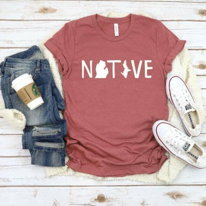 Michigan Native Shirts, Michigan Women's Shirts, State of Michigan Shirts, Trendy Womens T-shirts, Gifts for Women