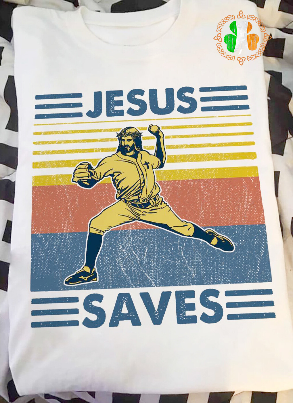 Vintage Baseball Jesus saves shirt