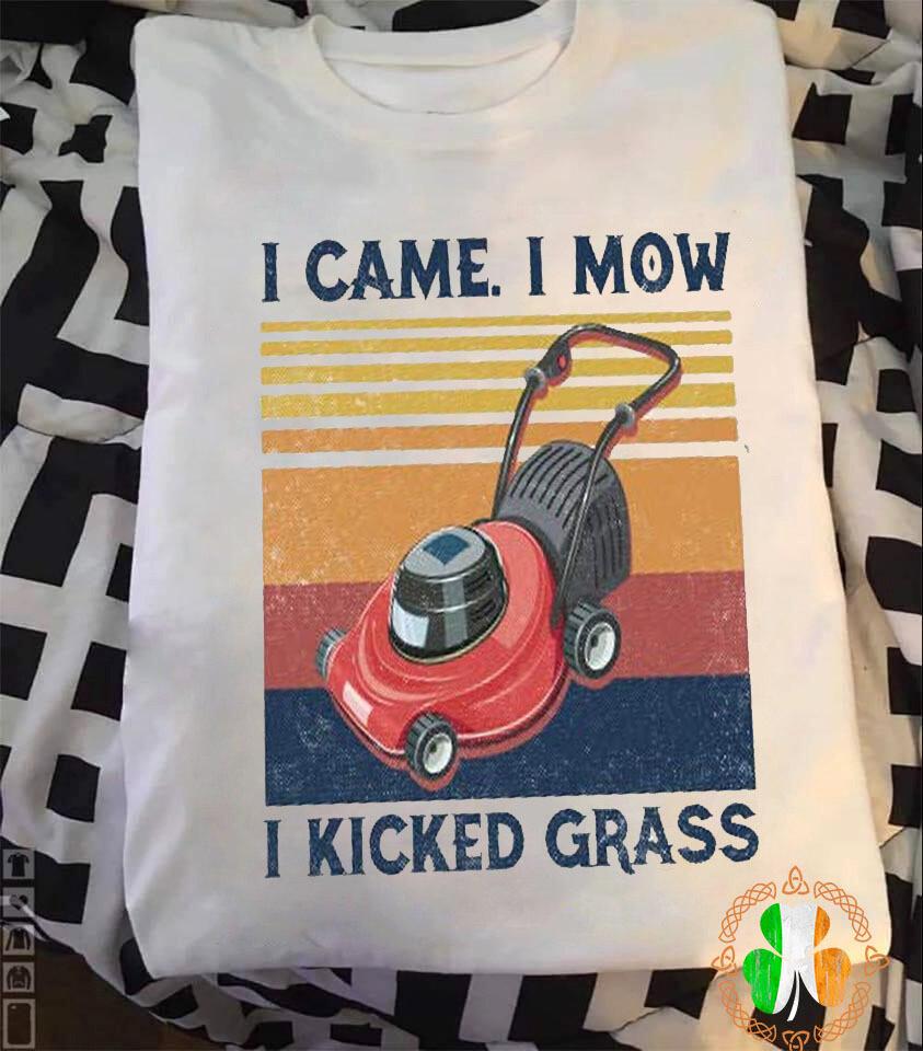 I Came I Mow I Kicked Grass Vintage Retro Shirt 1