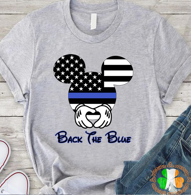 Mickey Mouse black the blue shirt