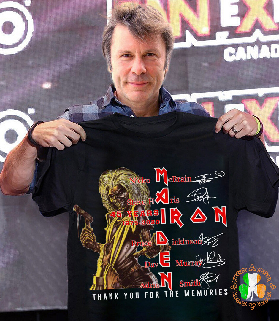 Iron Maiden 45 years 1975-2020 thank you for the memories signature shirt